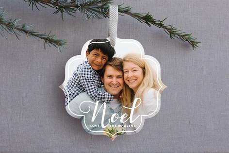 White Noel Ornament Photo Cards