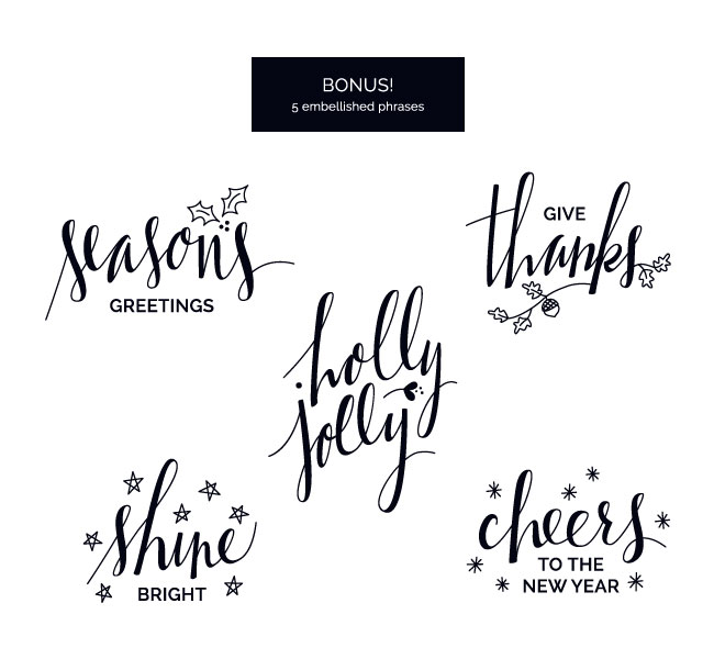 Embellished Holiday Phrase Overlays / Clip Art