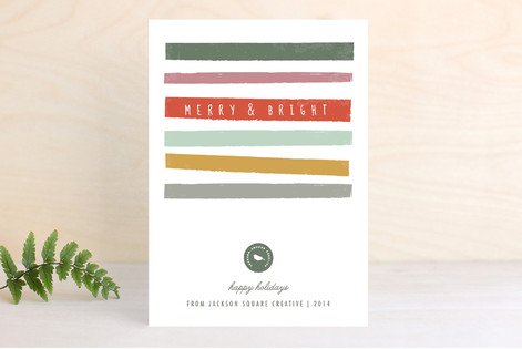 Merry & Bright Stripes Business Holiday Cards