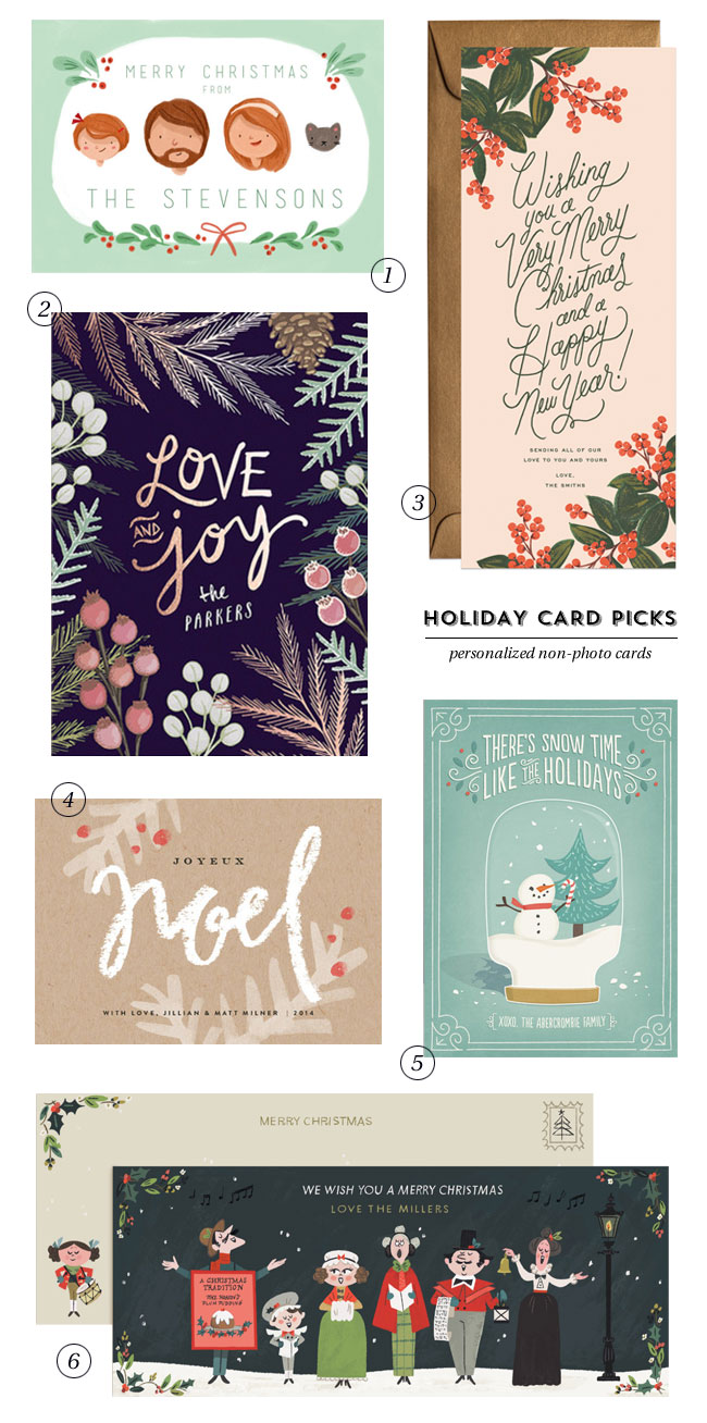 Holiday Card Picks : Personalized Non-Photo Cards - Paper Crave