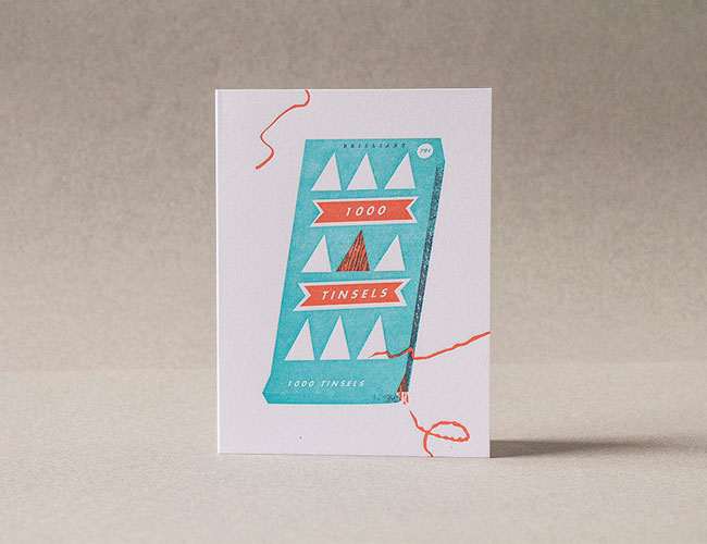 1000 Tinsels Letterpress Card | Tom Froese (Illustration) + Everlovin' Press (Printing)