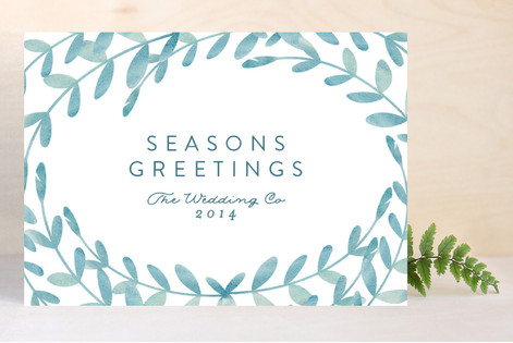 Watercolor Wreath Business Holiday Cards