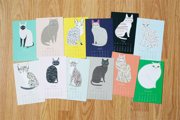 Gingiber 2015 Illustrated Cat Calendar