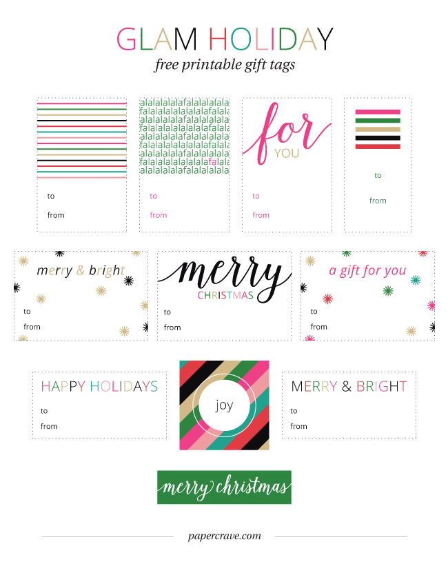 Glam Holiday Free Printable Gift Tags