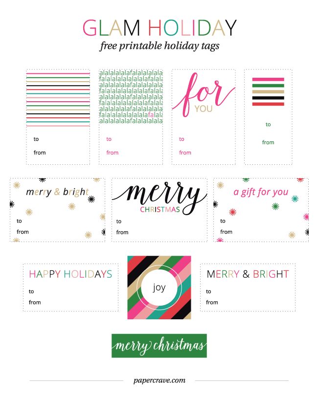 image regarding Printable Holiday Tags titled Cost-free Printable Glam Vacation Reward Tags - Paper Crave