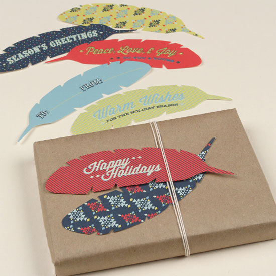 Free Printable Feather Gift Tags by Love vs. Design
