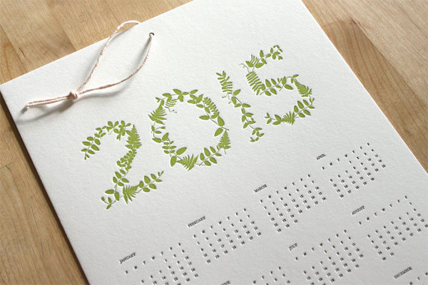 Moontree Press 2015 Letterpress Calendar