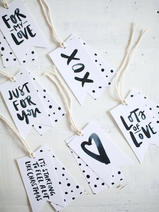 Free Printable Brush Lettered Gift Tags by Jasmine Dowling for A Pair & a Spare