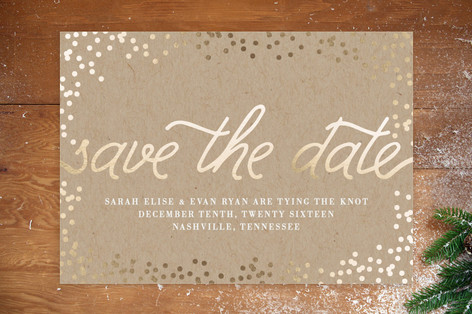 Gold Confetti Save the Date Cards by Saltwater Designs