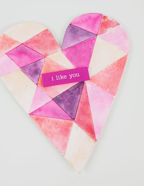 DIY Watercolor Heart Card | Paper Crave for @Craftsy