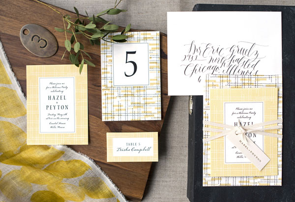 Miles Wedding Invitations by Hello Tenfold | Design : Hello Tenfold // Photography : Lissa Gotwals & Hello Tenfold // Styling : Michelle Smith // Envelope Calligraphy : Layers of Loveliness