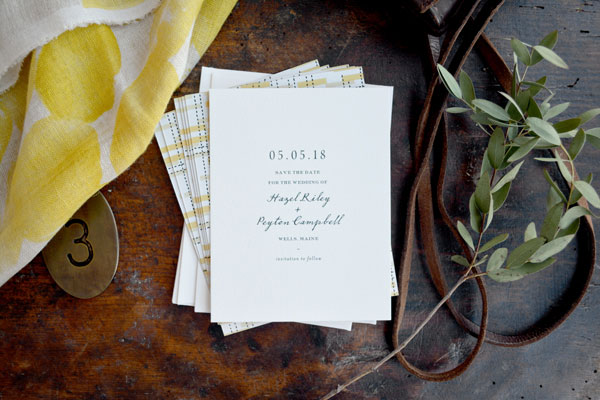 Miles Save the Date by Hello Tenfold | Design : Hello Tenfold // Photography : Lissa Gotwals & Hello Tenfold // Styling : Michelle Smith // Envelope Calligraphy : Layers of Loveliness