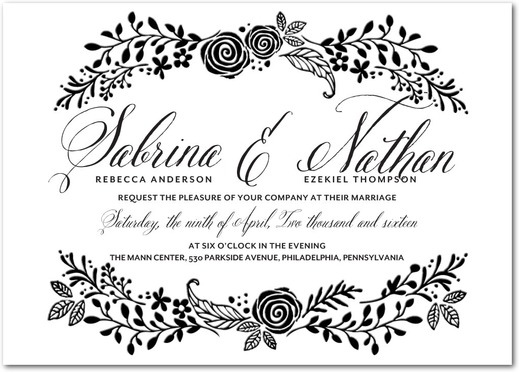 Floral Letterpress Wedding Invitations by Magnolia Press