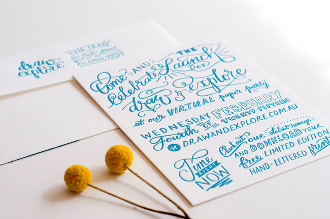Hand Lettered Paper Party Letterpress Invitations | Draw & Explore (printing by Darling Press)