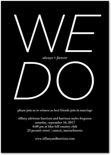 Black & White Typography Wedding Invites by Magnolia Press