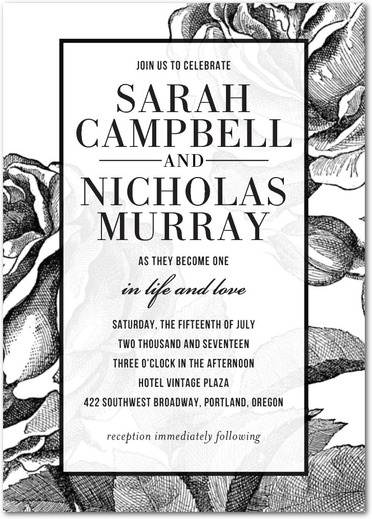 Classic Floral Wedding Invitations by Elm and Gray