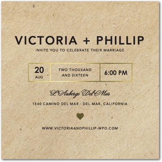Foil Stamped Kraft Wedding Invitations by Magnolia Press