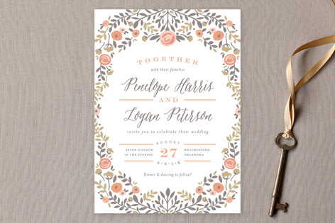 Floral Frame Wedding Invitations by Andrea Snaza