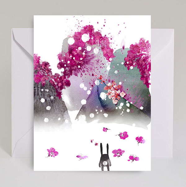 Bloom Mountains Bunny Watercolor Card by Masha D'yans