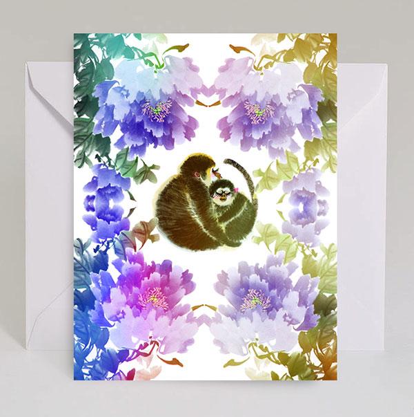 Monkey Hug Watercolor Card by Masha D'yans