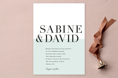 Color Block Typography Wedding Invitations by Stacey Meacham