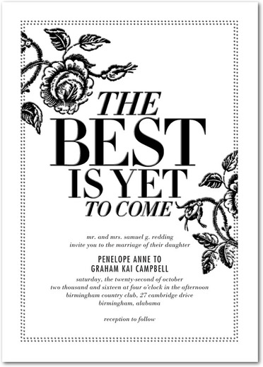 Bold Floral Typography Wedding Invites by Stacey Day