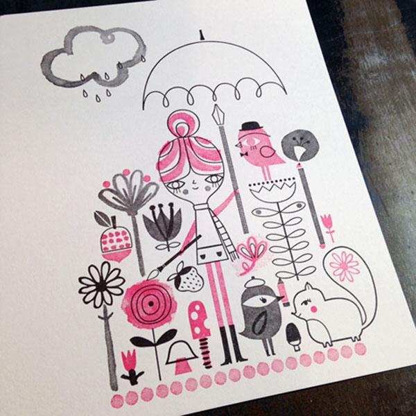 Drawing in the Rain Letterpress Print   Suzy Ultman (printing by Igloo Letterpress)
