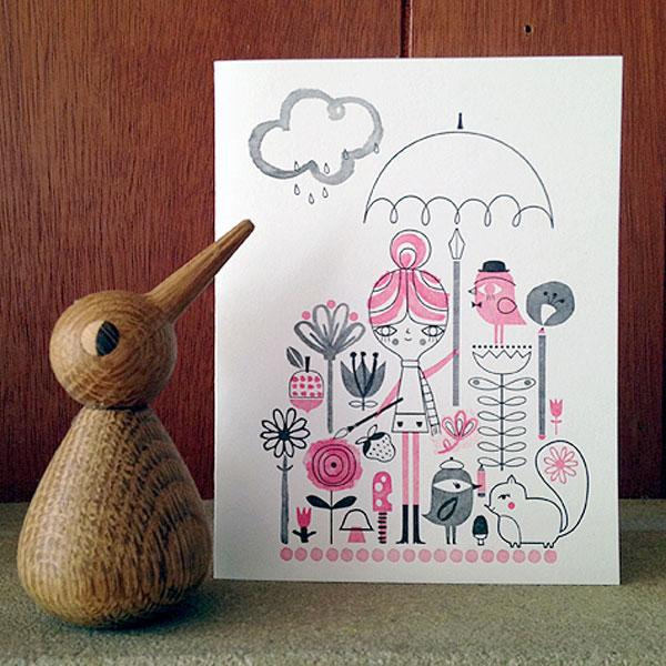 Drawing in the Rain Letterpress Card   Suzy Ultman (printing by Igloo Letterpress)