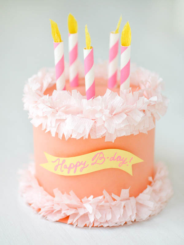 DIY Paper Birthday Cake Box from Oh Happy Day