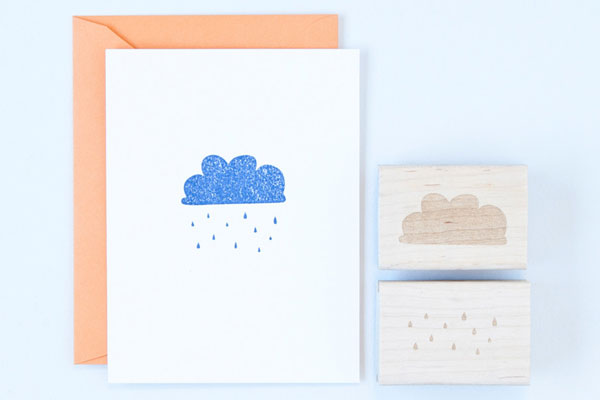 Cloud and Rain Rubber Stamps by Felicette