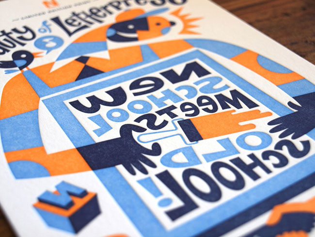 """Old School Meets New School"" Letterpress Print | Designed by Von Glitschka and Printed by Genghis Kern"