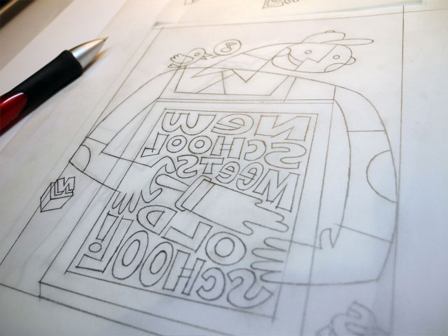 """Old School Meets New School"" Letterpress Print | Designed by Von Glitschka (Process)"