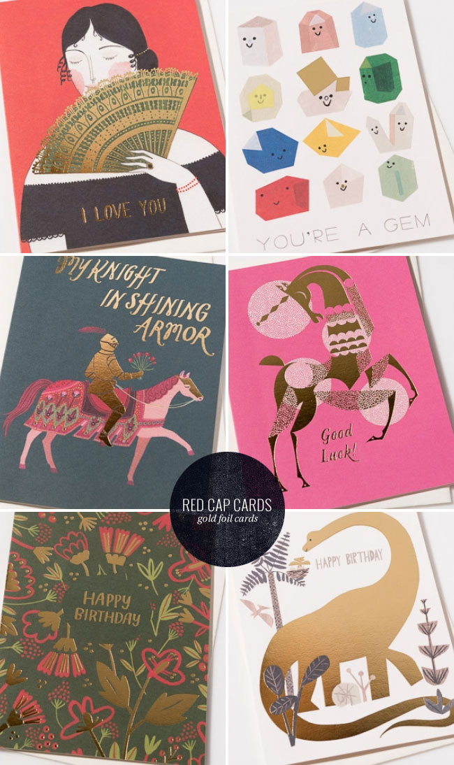 Gold Foil Stamped Illustrated Cards from Red Cap Cards