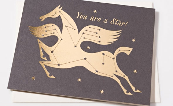 Star Horse Gold Foil Stamped Card by Lesley Barnes for Red Cap Cards