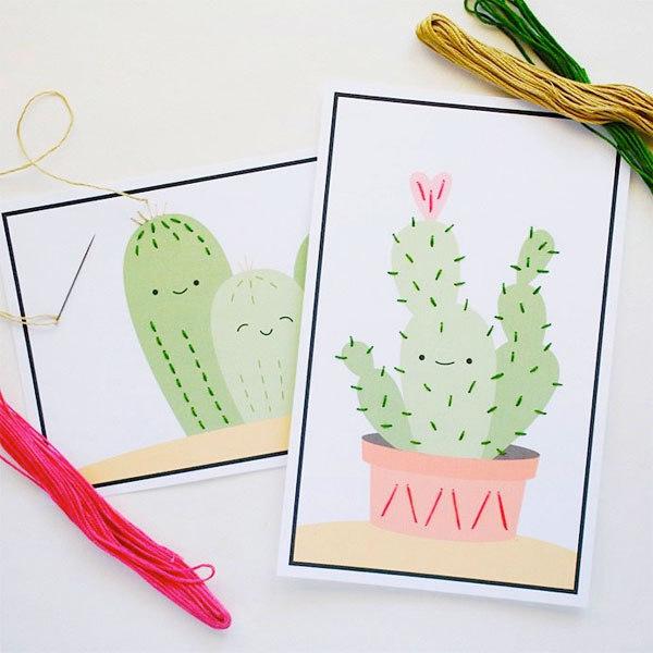 Super Cute Stitch-Along Cactus Cards (Free Printable) from Handmade Charlotte