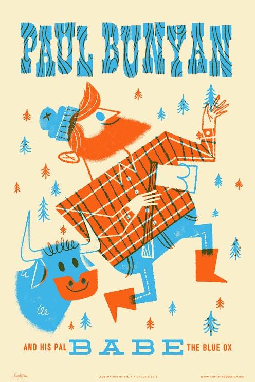 Paul Bunyan Illustrated Screen Print by Lydia Nichols