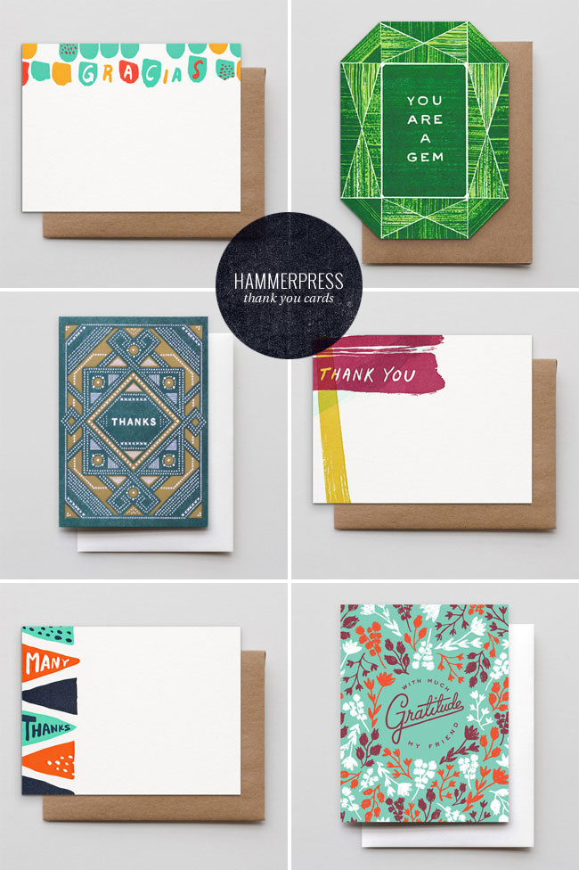 Letterpress Thank You Cards from Hammerpress