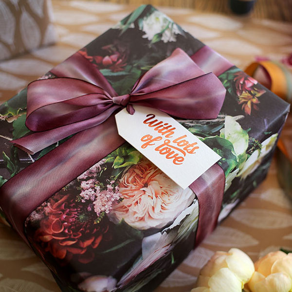 Bespoke Press Gift Wrap, Gift Tags & Hand Dyed Silk Ribbon