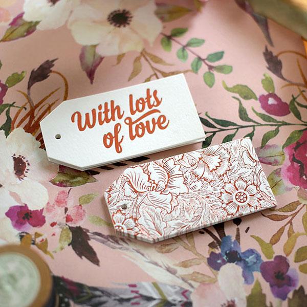 Bespoke Letterpress Copper Foil Gift Tags