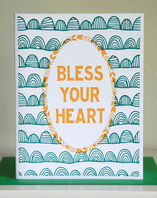 Bless Your Heart Letterpress Card by Cherry Laurel Studio