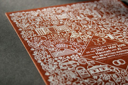White Foil on Kraft Save the Dates // Design by Alex Farrall & Printing by Blush Publishing
