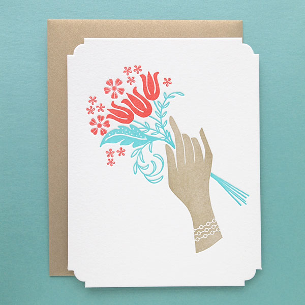 Bouquet Deluxe Letterpress Greeting Card by Missive