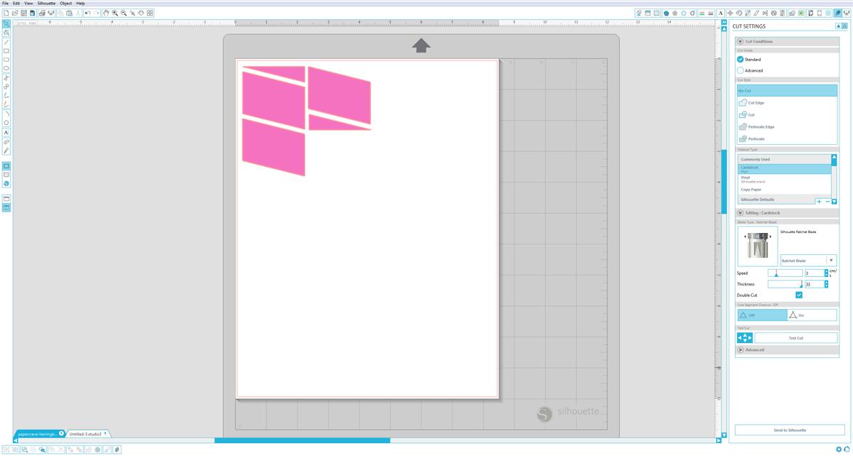Silhouette Studio (Designer Edition) : Cut Settings