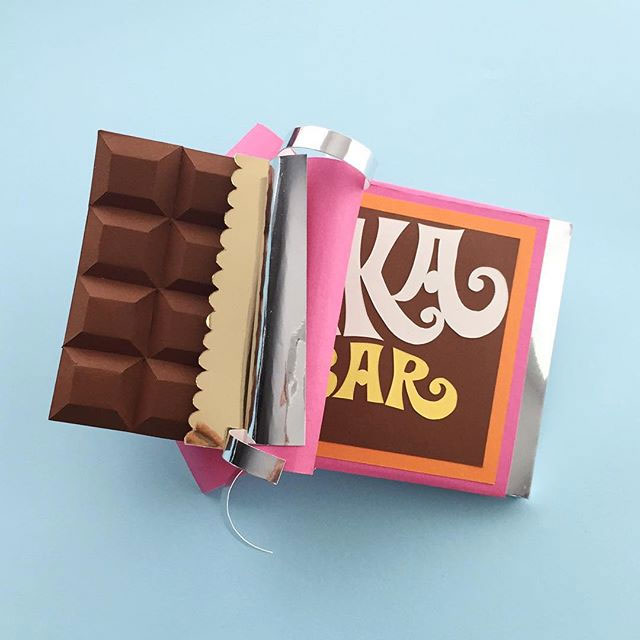 Willy Wonka Chocolate Bar Paper Sculpture by Belinda Rodriguez (@beli.button on Instagram)