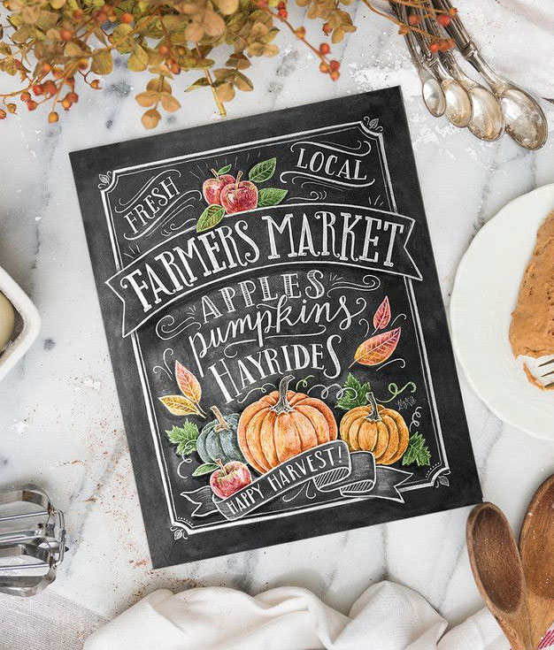 Fall Farmer's Market Print by Lily & Val
