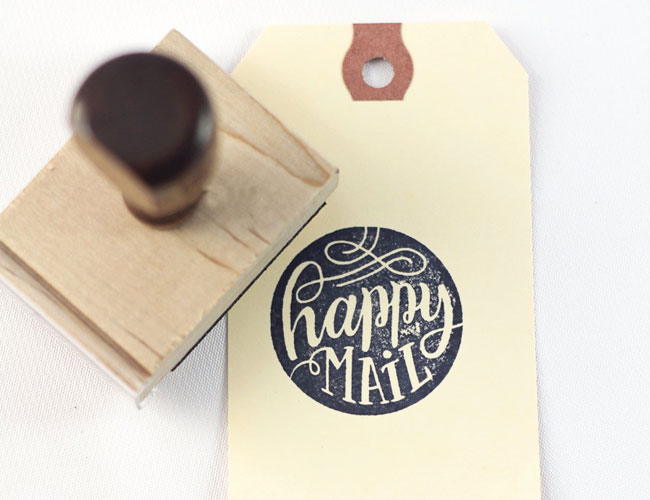Hand Lettered Happy Mail Stamp by How Joyful