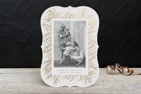 Botanical Frame Foil Holiday Photo Cards by Phrosne Ras