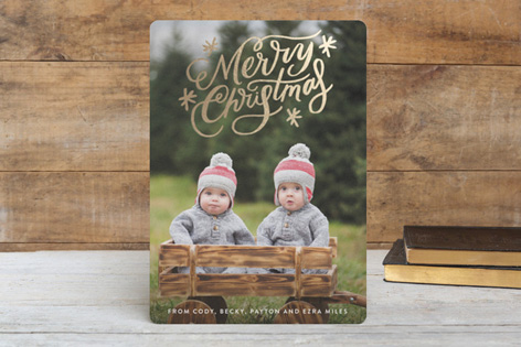 Script Christmas Foil Holiday Cards by Alethea & Ruth