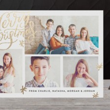 Collage Script Foil Holiday Photo Cards by Alethea & Ruth
