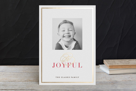 Elegant Joy Foil Holiday Photo Cards by Carrie O'Neal